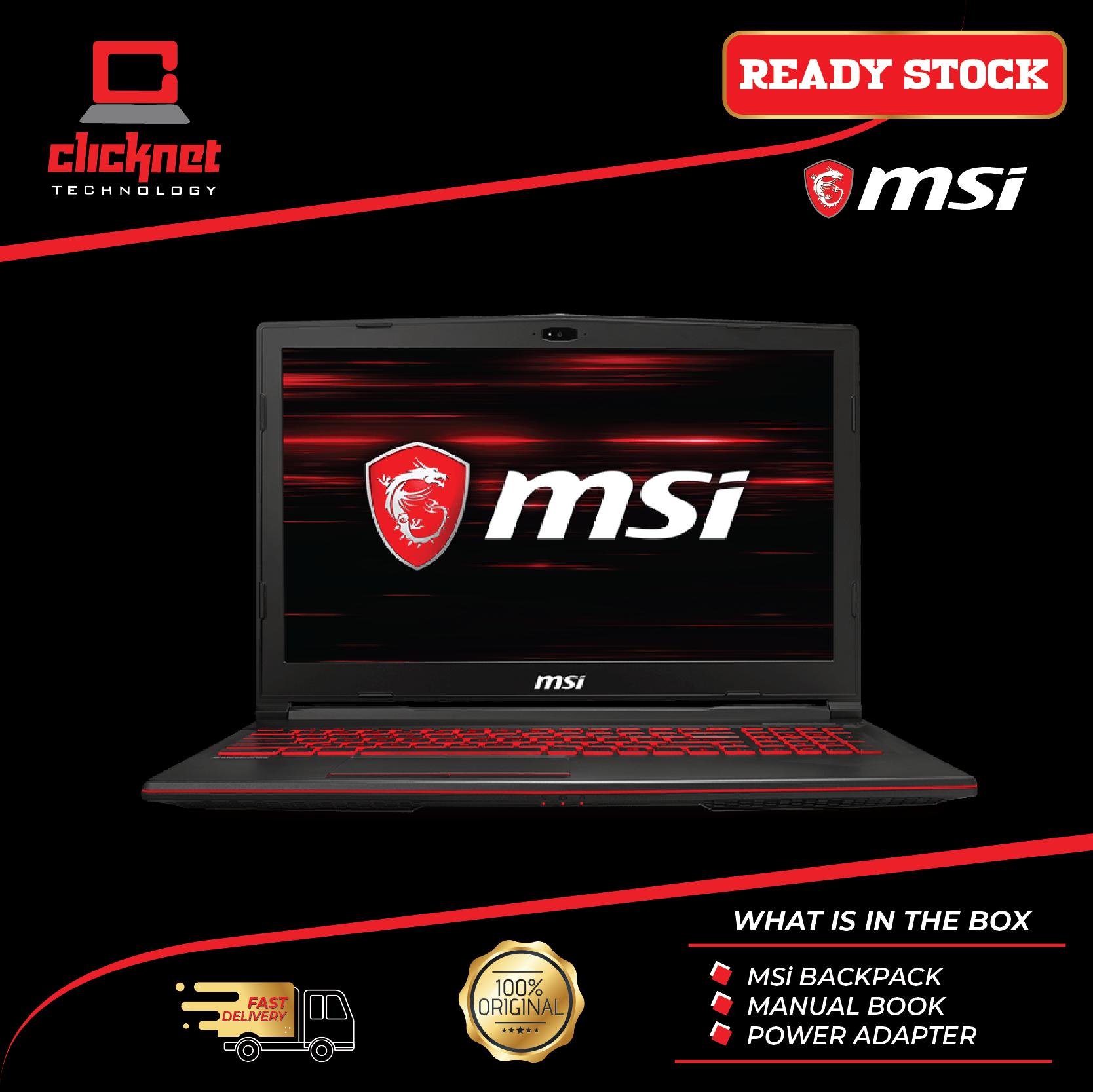 MSI GL63-8RCS-058 15.6  FHD Gaming Laptop (i5-8300H, 8GB, 256GB, GTX1050 4GB, W10 15.6  FHD IPS) Malaysia