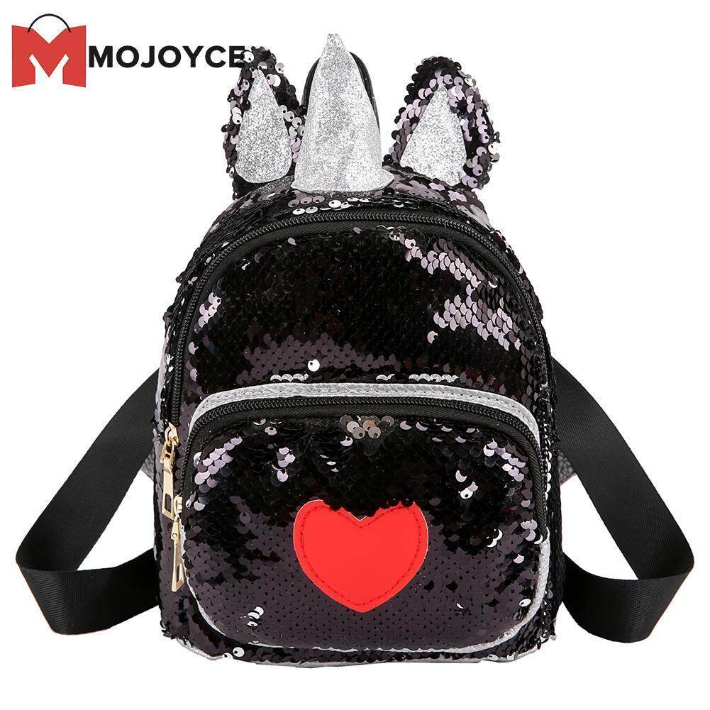 MOJOYCE Ear Horn Decor Travel Backpacks Cute Kids Sequins Knapsack Heart Rucksack