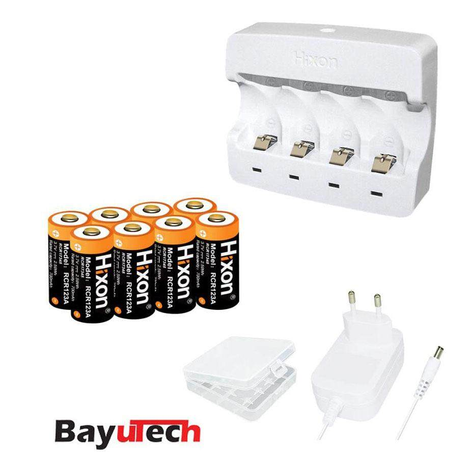 Hixon 8pcs RCR123A and Charger for Arlo HD camera Reolink Argus Keen 700mAh 3.7V UL& FCC Li-ion CR123a rechargeable Battery