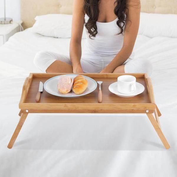 Sunflower Portable Bamboo Wood Bed Tray Breakfast Laptop Desk Tea Food Serving Table Folding Leg