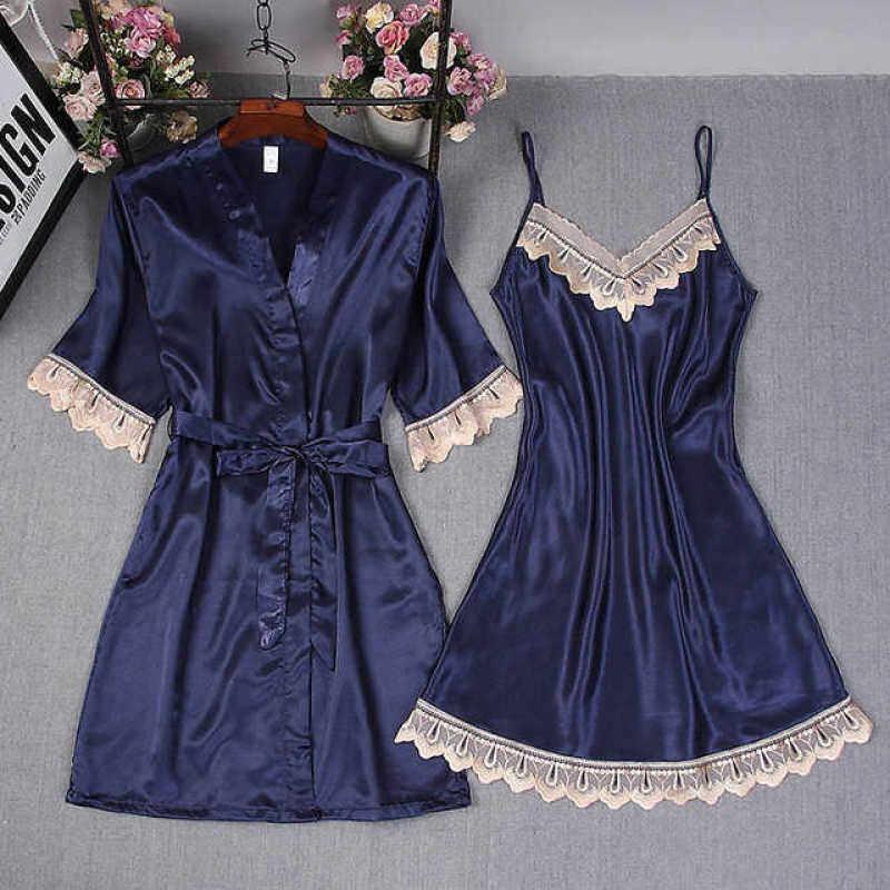 Nơi bán Nữ 4 Món Đồ Ngủ Kết Hợp Riêng Biệt Rayon Satin Bộ Pyjama Sọc Nữ Pijama Kết Hợp