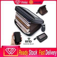 Utalqc Nam Ví Ngắn với Khóa Zipper Ví Nam Thiết Kế Thẻ Da Thật Chính Hãng Da RFID Ngăn Chặn Bỏ Túi