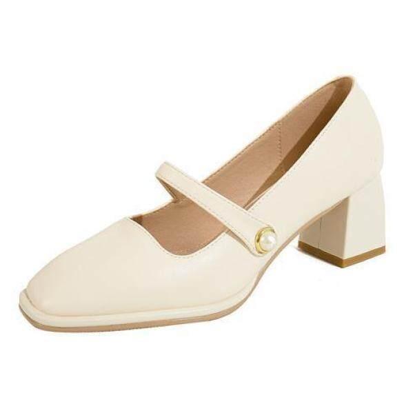 Pnn338 Gót Dày Mary Jane Giày Nữ Hoài Cổ 2020 Mới Phong Cách Hepburn Cao Gót Mũi Vuông Miệng Nông Giày Đơn Nữ Mùa Hè Ngọt Ngào giá rẻ