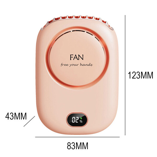 Elecboy Neck Fan Portable USB 3 Speed Adjustable Hanging 2000 mAh Rechargeable Mini Neck Fan for Workout Home Office Commute