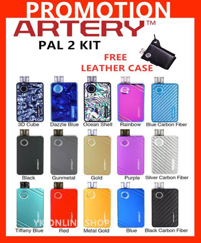 (Free Leather Case New Color) Original New Artery Pal II Pod Mod Starter  Kit Multiple Color 3ML Tank Built In 1000mAh Battery Artery Pal 2 Pod  Package