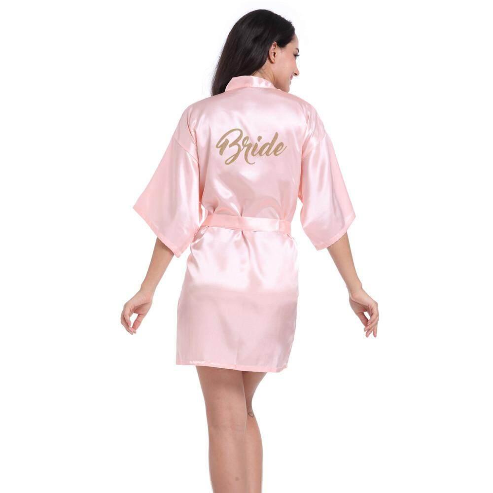 Quần lót Ngủ Áo Choàng nữ Nguyên Chất Ngắn Kimono Lụa Áo Dây Quần Ngủ Cho Cô Dâu Tiệc Cưới