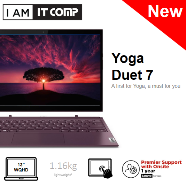 Lenovo Yoga Duet 7 13IML05 82AS007HMJ / 82AS007JMJ 13.3 WQHD Touch Laptop Slate Grey/Orchid (i7-10510U/8GB/512GB/W10) FOC WIRELESS MOUSE & F-SECURE 1 YEAR Malaysia