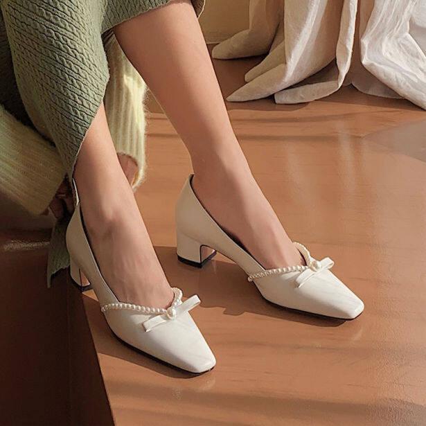 Aurora. An, Giày Cao Gót Nữ, Gót Chunky 5.5Cm Giày Công Sở Gót Thấp Đế Xuồng Mũi Nhọn Phong Cách Hepburn Thanh Lịch Giày Dự Tiệc Giày Nữ Giày Mary Jane giá rẻ