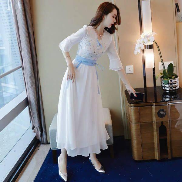 Váy Thời Trang Nữ Mới 2020 Đầm Voan Gió Nhẹ Cổ Điển Váy Dài Ngọt Ngào Siêu Cổ Tích