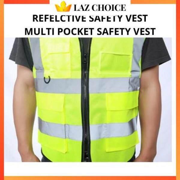 LAZ CHOICE [ Local Ready Stocks ] Reflective Safety Vest High Visibility Safety Vest Clothing Multi Pockets Safety Vest Fluorescent Green Jaket Keselamatan