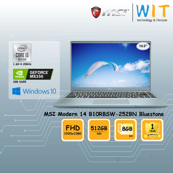 MSI Modern 14 Laptop B10RBSW-252BN Bluestone/Intel Core i5-10210U 1.60~4.20GHz/8GB D4/512GB SSD/14.0FHD/NVD MX350 2GB DDR5 Malaysia