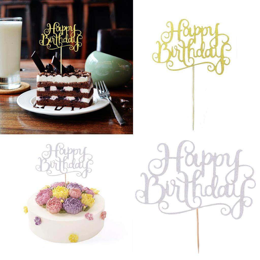 Loviver 40 Pieces Glitter Happy Birthday Cake Cupcake Topper Home Party Decorations