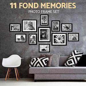 11 Pcs Multi DIY Wall Hanging Photo Frame Set Picture Display Modern Photograph Home Wall Art Decor Black/White