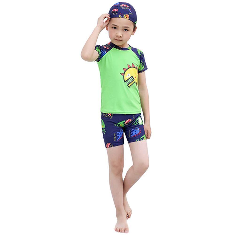 12ee0b1c69 Saideng Kids Boys Cartoon Dinosaur Printing Top Shorts Hat for Swimming