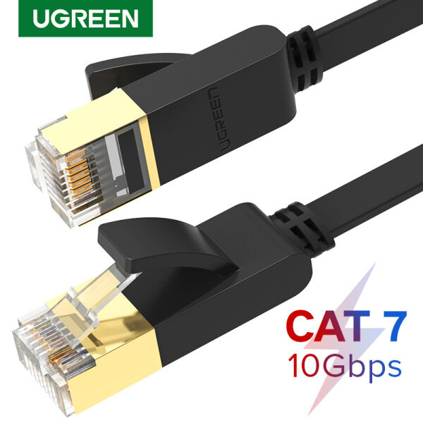 UGREEN Flat Ethernet Cable Cat7 RJ45 Network Patch Cable Flat 10 Gigabit 600Mhz Lan Wire Cable Cord Shielded for Modem Router PC Mac Laptop PS2 PS3 PS4 XBox and XBox 360 0.5/1/1.5/2/3/5/8/10/15/20M Black - Intl