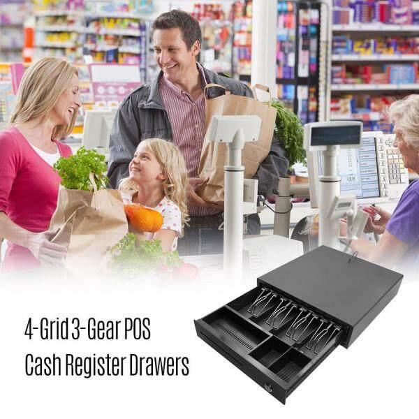 Heavy Duty Cash Drawer bốn lưới ba-gear POS Máy tính tiền Drawer cashbox với khay tiền và khóa giao diện RJ11 hệ thống POS thông minh