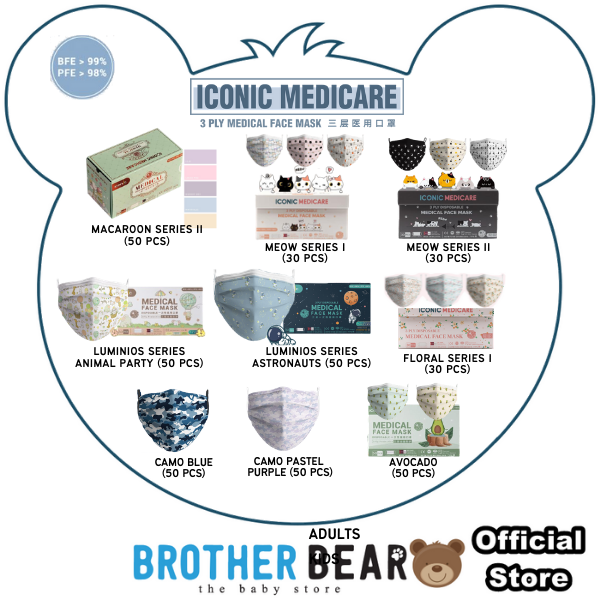 Iconic Medical Grade Premium Quality Special Edition Bear 3ply Cute Disposable Face Mask for Kids / Adults - Mix & Match [Product of Malaysia]