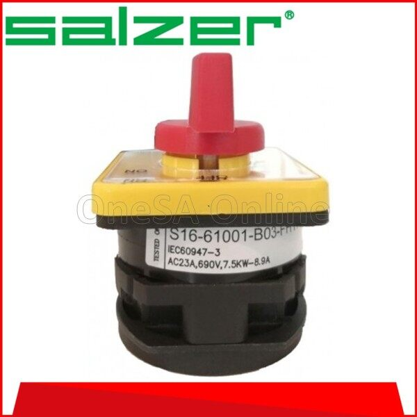 SALZER ISOLATOR SELECTOR SWITCH, ON/OFF ~ 16A ~ 1P/3P, (S1661003-B03/S1661001-B03)