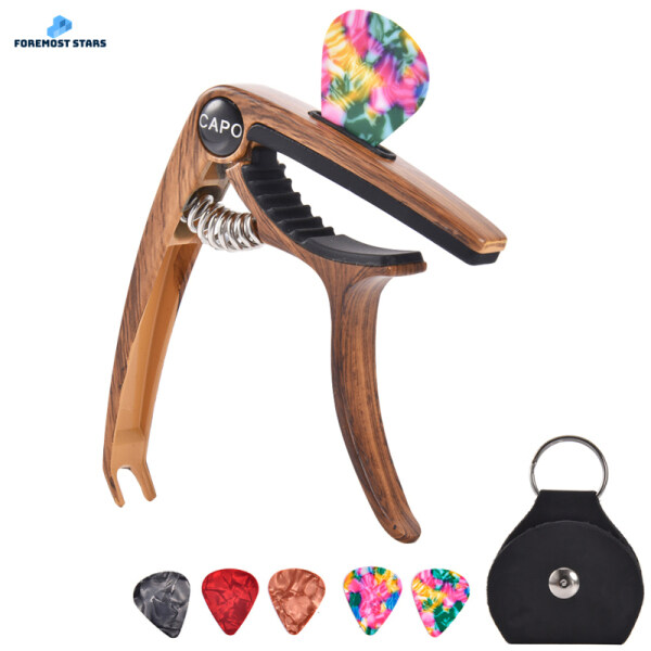 【Ready Stock】 Guitar Capo for Acoustic and Electric Guitars Bass Ukulele Mandolin Banjo with Picks and Picks Holder electric bass ukulele mandolin pick Malaysia
