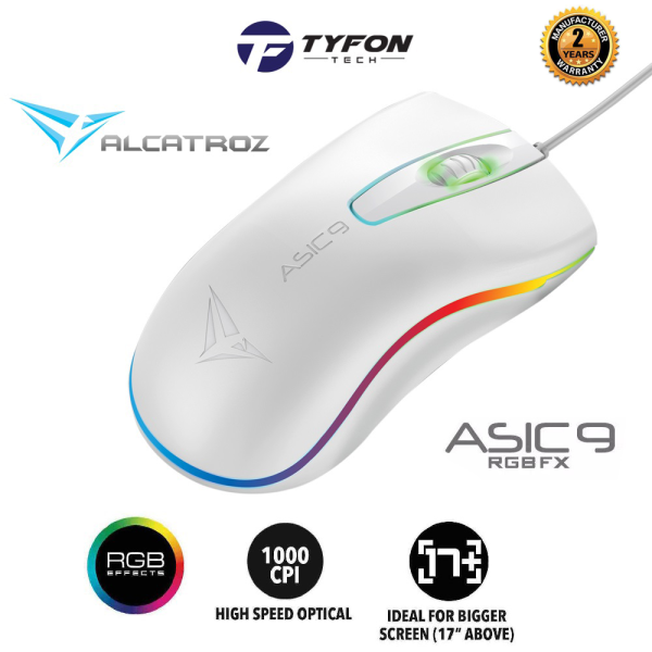 Alcatroz Asic 9 RGB FX Gaming Wired Mouse (White) Malaysia