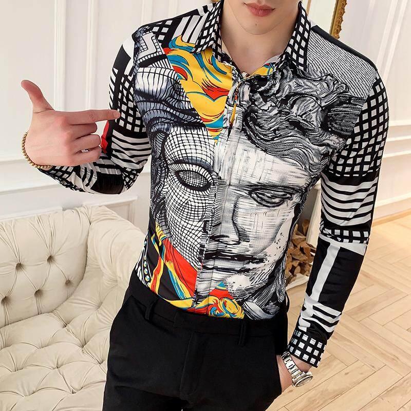 c5896d465 Vintage Shirts Mens Printed Vestido Xadrez Slim Fit Smart Casual Mens  Fashion Shirts Club Outfits Floral