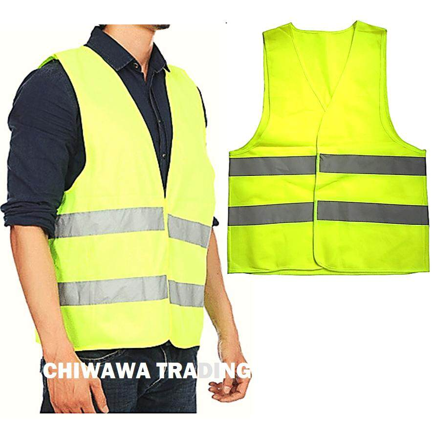 Reflective Safety Fluorescent Vest Visibility Security Traffic Enclosure with Velcro Stick-On Pad - NEON GREEN