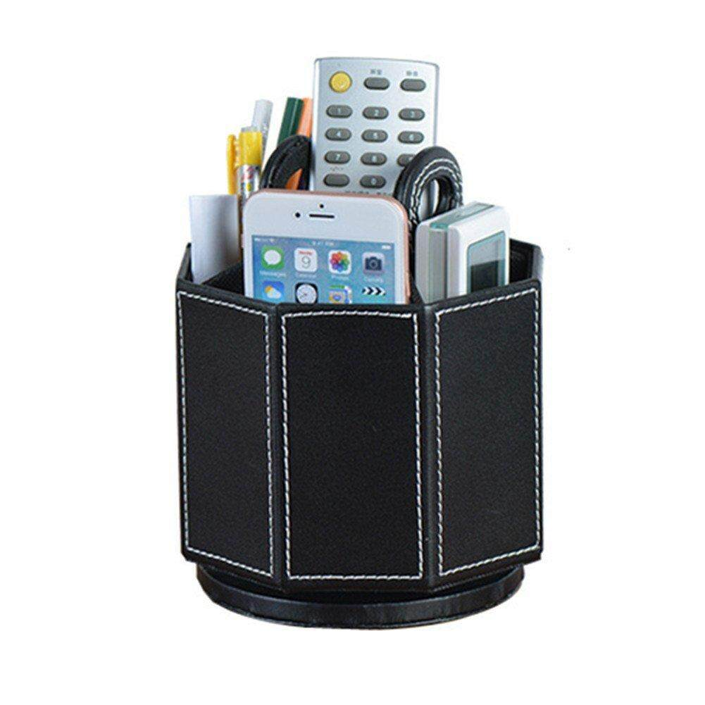 PU Leather Rotatable Remote Control Holder Storage box for TV Remote Phone Eyeglasses black plain weave
