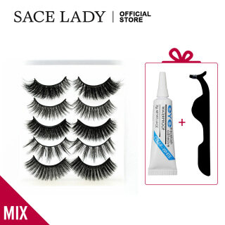 SACE LADY Set Bulu Mata Palsu Panjang Alami, Set Kosmetik Ekstensi Bulu Mata Palsu dengan Lem Pinset thumbnail