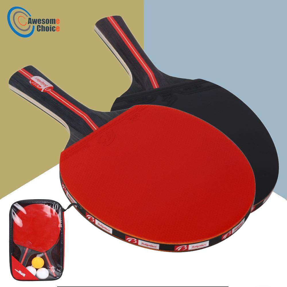 Table Tennis Bags b@p 2pcs/lot Bat Racket Double Face Pimples In Long Short Handle Ping Pong Paddle Racket Set With Bag 3 Balls