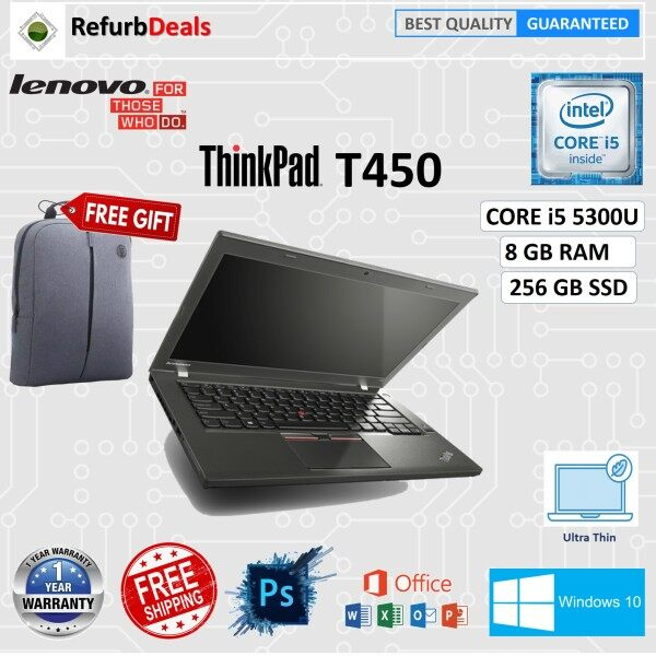 LENOVO THINKPAD T450 - CORE i5 5300U 5th Gen / 8GB RAM /256GB SSD / 14 HD SCREEN / WIN 10 PRO /LENOVO T450 REFURBISHED NOTEBOOK PC Malaysia