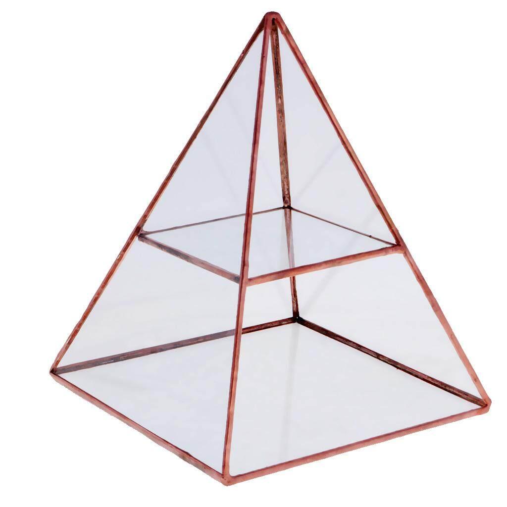 Loviver Pyramid Glass Jewelry Box Display Holder Storage Organizer Copper