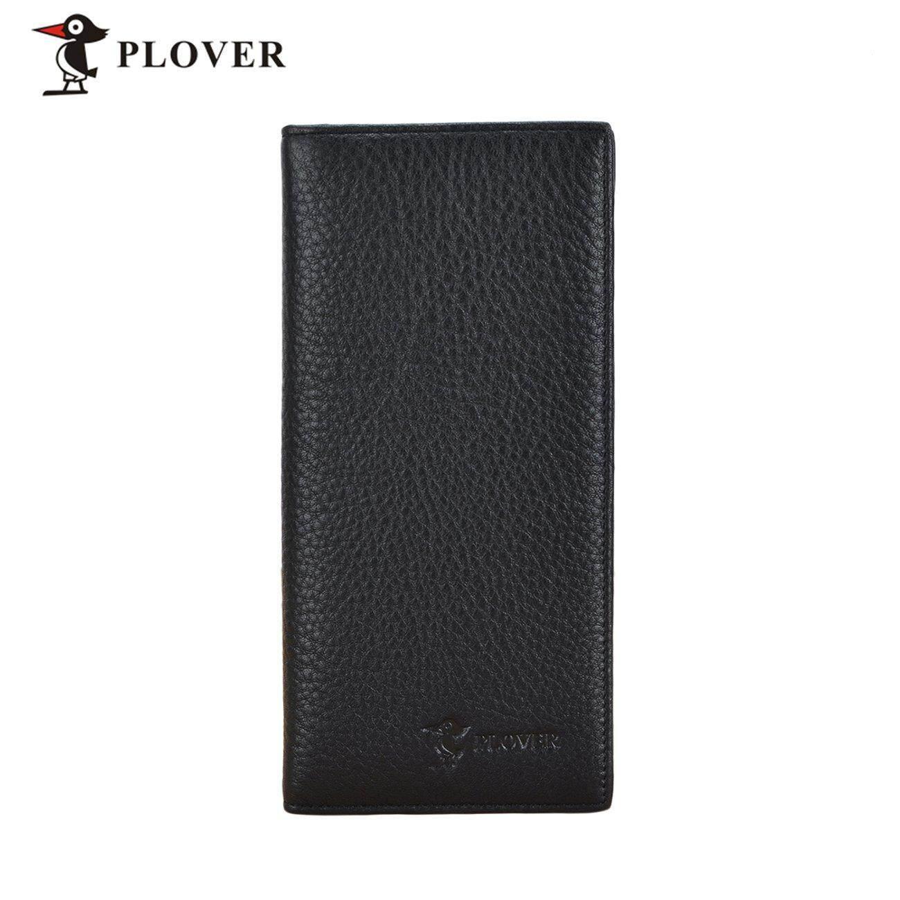 Hot Deals PLOVER GD5919-8A Black Men Long Wallet Cow Leather Solid Slim Long Wallet