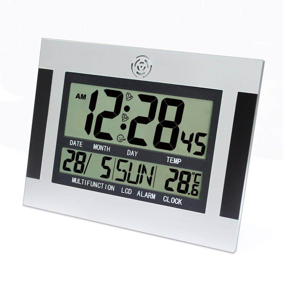 Hot Sellers Digital Desk Wall Alarm Clock with Thermometer And Calendar LCD Large Screen