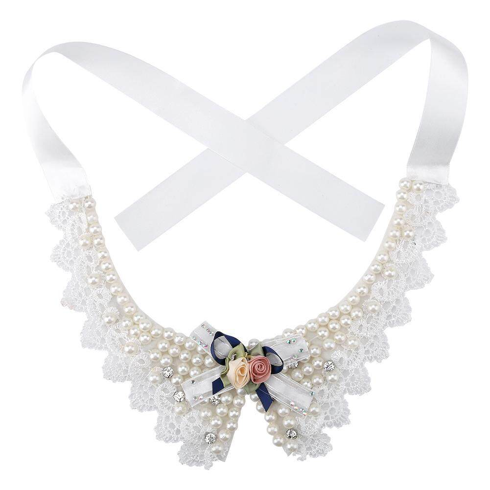 Adjustable Bow Tie Pet Dog Neck Collar Beautiful Pearl Flower Necklace By Deetee Shop.