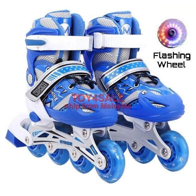 Kids   Adult Rollerblade Inline Skate + LED Wheel Adjustable Shoe Roller  Blade Kasut Roda 2754c0b8ad
