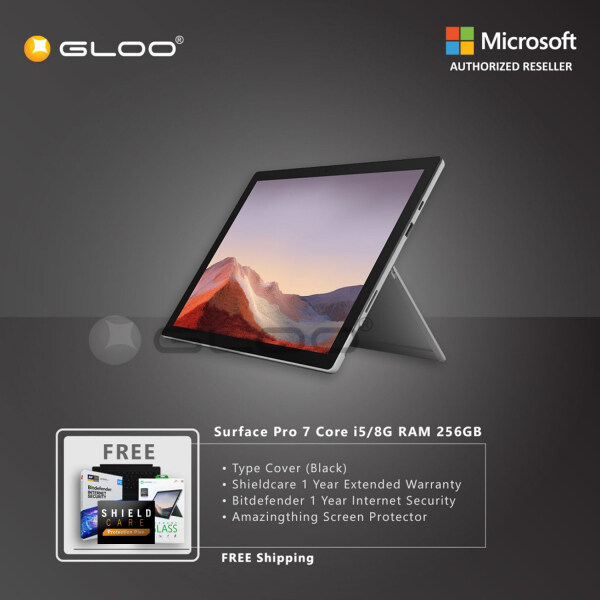 Microsoft Surface Pro 7 Core i5/8G RAM - 256GB Platinum - PUV-00012 + Surface Pro Type Cover [Choose Color] + Shield Care 1 Year Extended Warranty + Bitdenfender 1 Year Internet Security + Amazingthing Screen Protector Malaysia