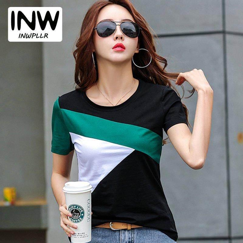 07798d2ff INWPLLR Women s Korean-style T-shirts Summer O-neck Short Sleeve Tee Tops