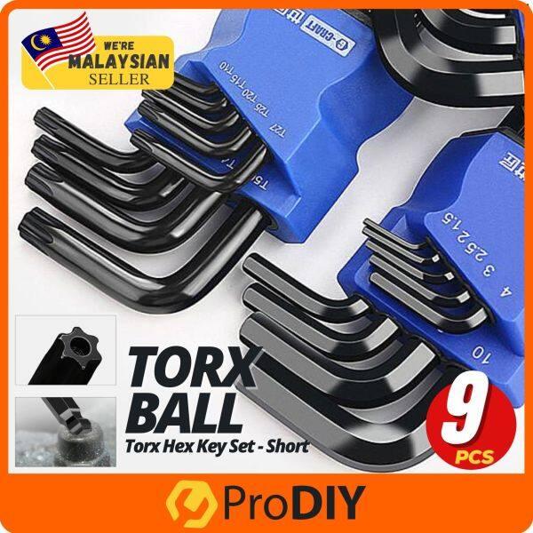 9Pcs G-Craft Torx Key Set T10-T50 Ball Point Allen Key Set Metric Short L Shape Type