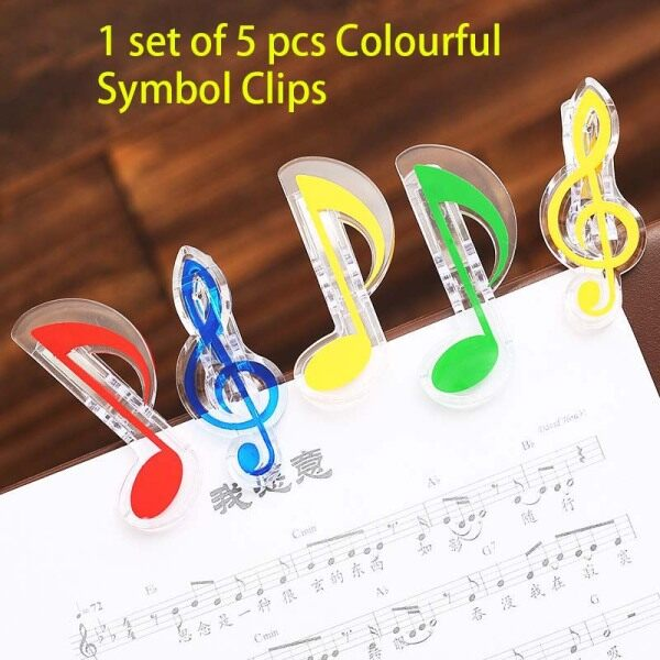 1 set of 5 pieces colourful Music Symbol Clip1包5件5色音符夹,两种图案选择 Malaysia