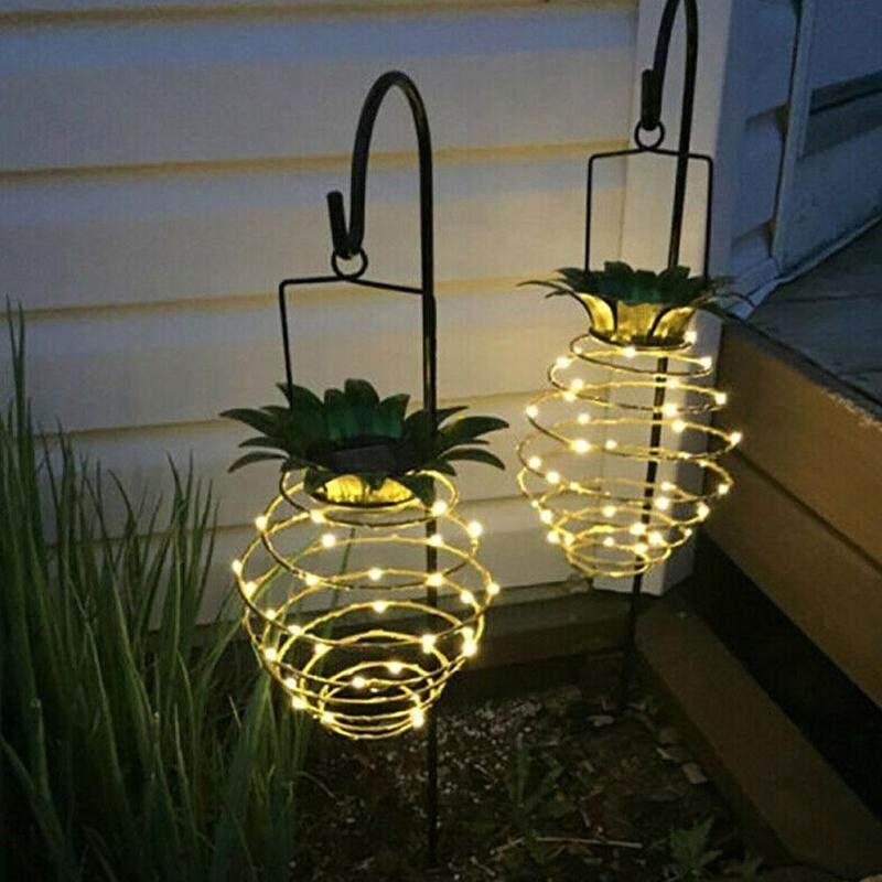 2 PCS Pineapple Solar LED Light Iron Art Hanging Lantern Festival Decoration Lamp Waterproof