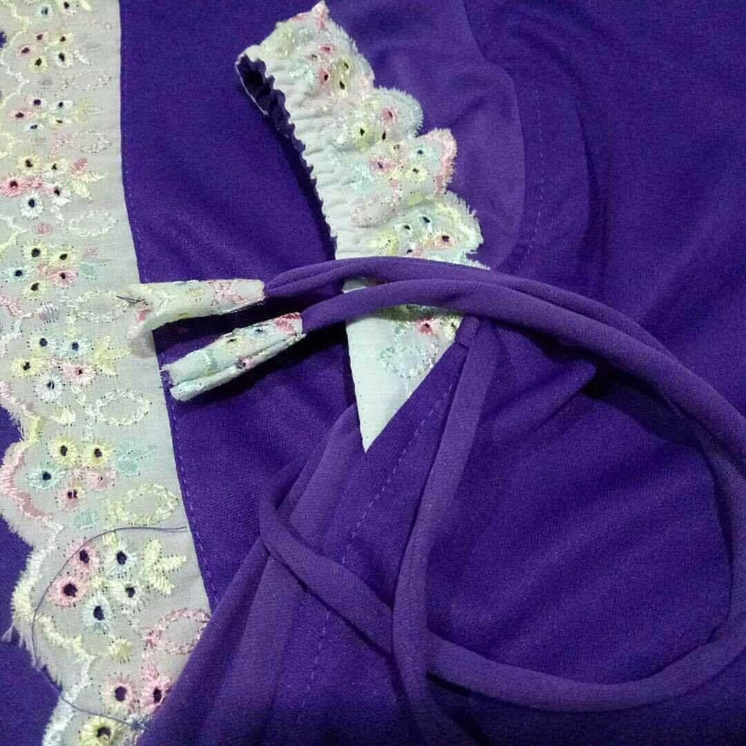 Telekung Budak Purple dengan Lace