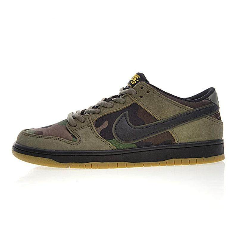 Diskon Kualitas Original_Nike SB Zoom Dunk Rendah PRO Pria Skateboard Sepatu Tahan Bernapas Tentara Hijau ringan Abrasi 854866 209