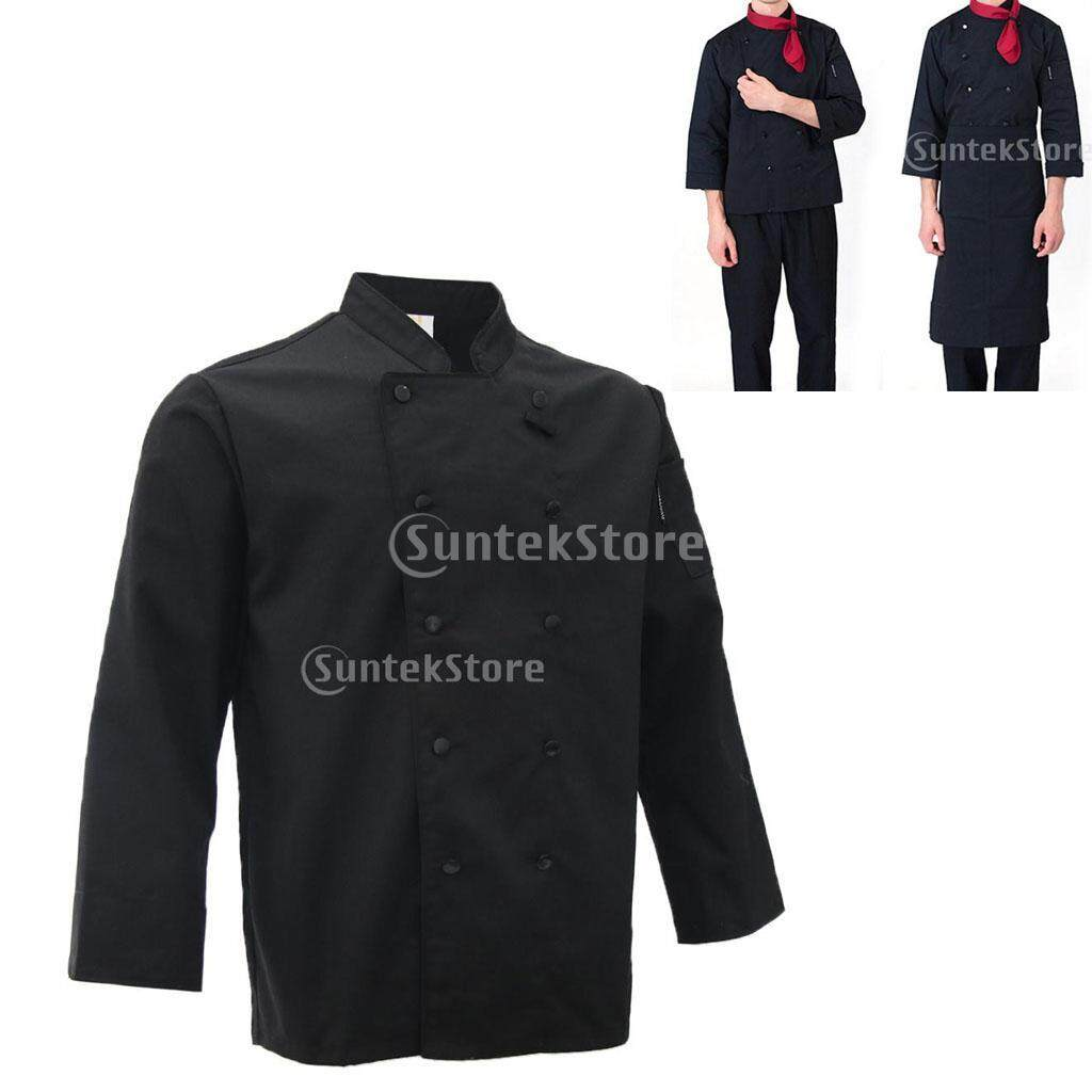 Blesiya Restaurant Unisex Chef Long Sleeve Coat Jacket Uniform Cook Clothes