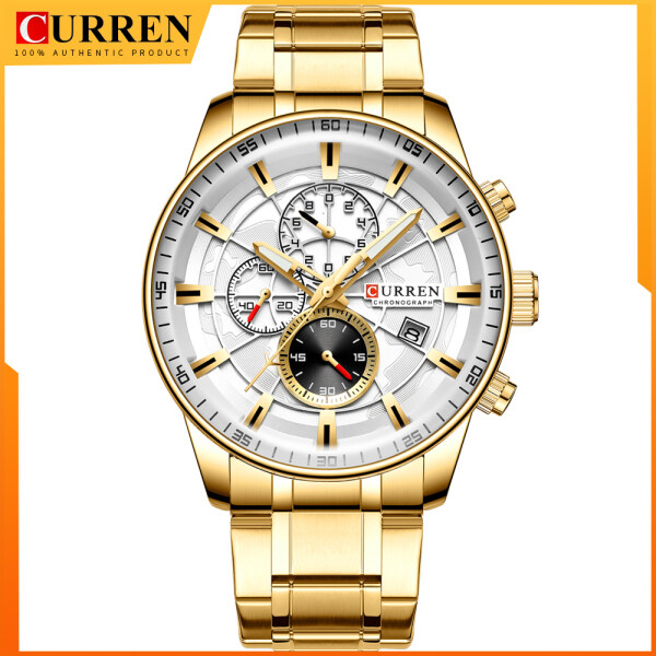 Mens Watches CURREN New Fashion Stainless Steel Top Brand Luxury Multi-function Chronograph Quartz Wristwatch Malaysia