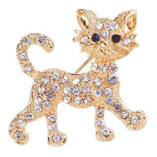 Talent Star Trâm Cài Hình Mèo Dát Kim Cương Giả Hợp Kim Cho Nữ Huy Hiệu Quần Áo Quà Tặng Trang Sức Trang Trí thumbnail