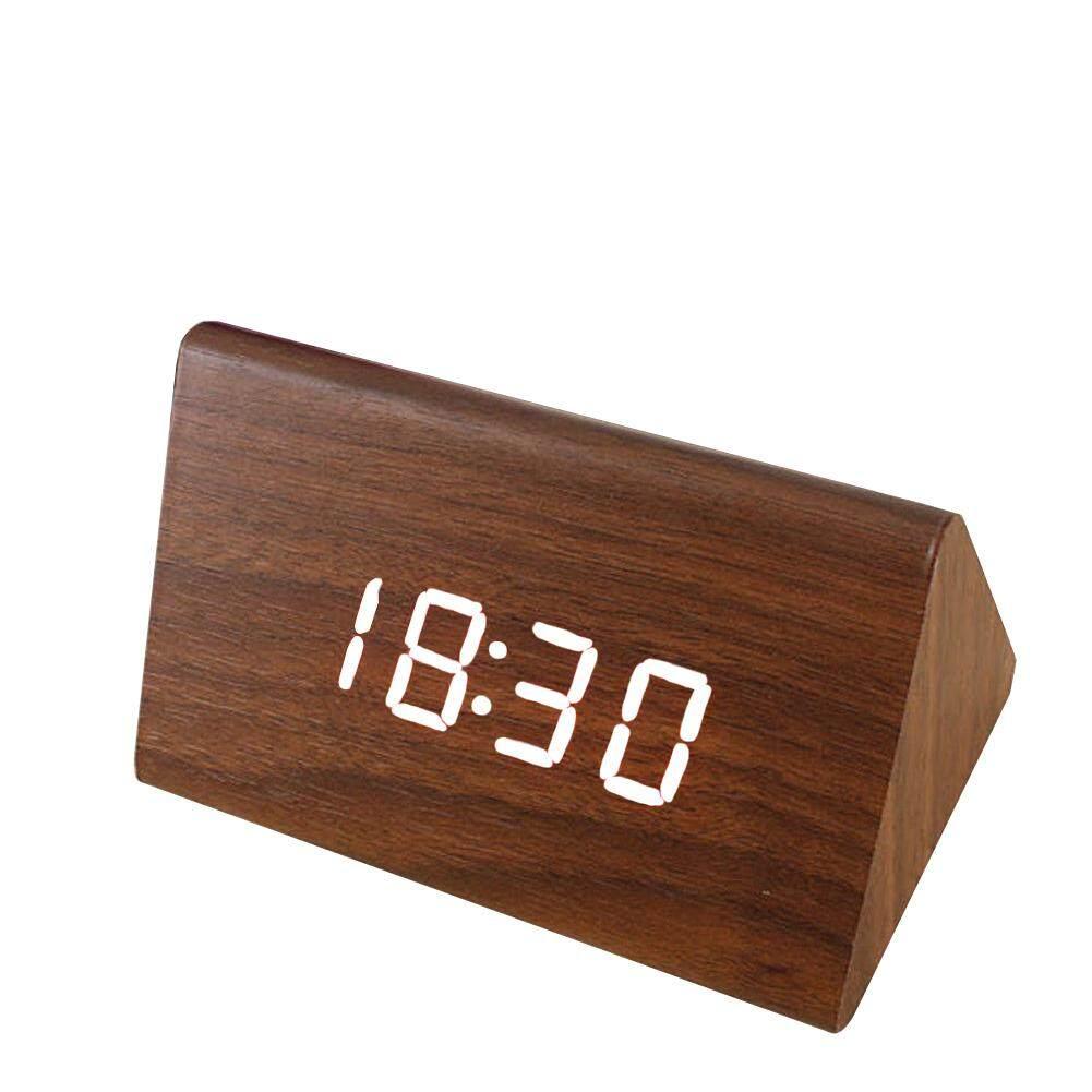 LED Display Multifunction Table Battery Operated Time Noctilucence Desk Decorative Electronic Upgrade Wood Decor Desktop Digital Sounds Control Calendar Alarm Clock