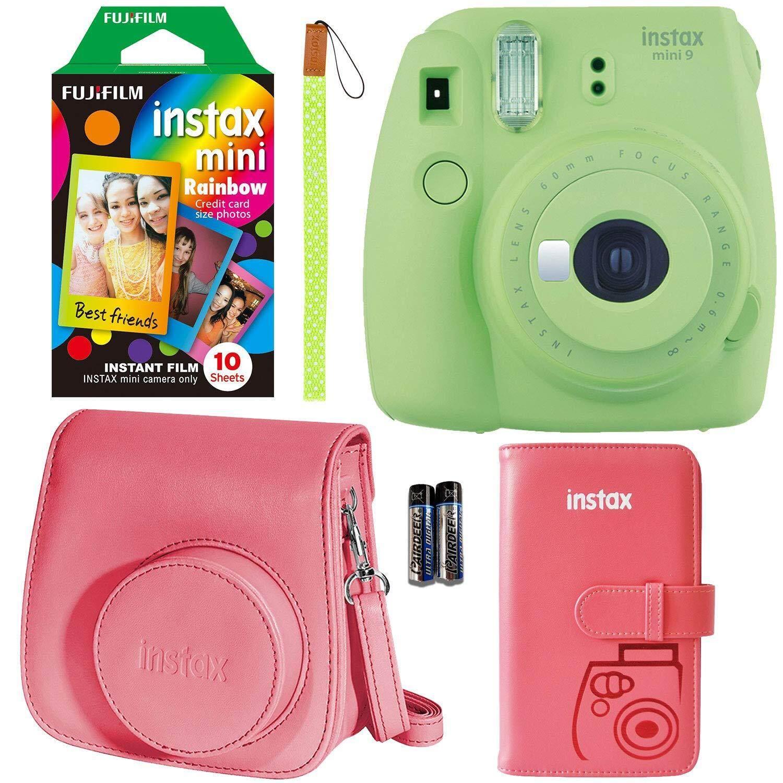 Fujifilm Instax Mini 9 Instant Camera - Lime Green, FujiFilm Instant Mini Rainbow Film, Fujifilm Instax Groovy Camera Case - Raspberry and Fujifilm INSTAX Wallet Album Raspberry