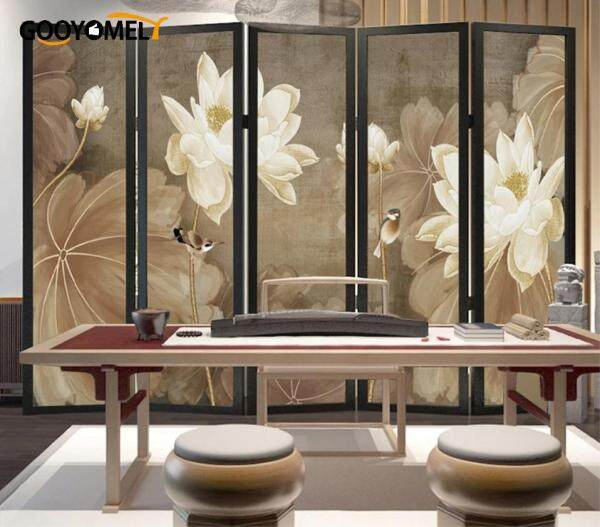 Gooomely Chinese Pine Lotus Folding Screen Hotel Living Room Study Screen Partition Folding Screen 160*180CM