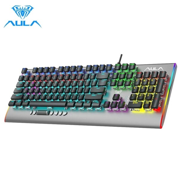 AULA F2099 Wired Backlight Mechanical Gaming Keyboards 104 Keys Anti-ghosting Multi-Colorful keyboard Switch Blue for PC Gamer Singapore