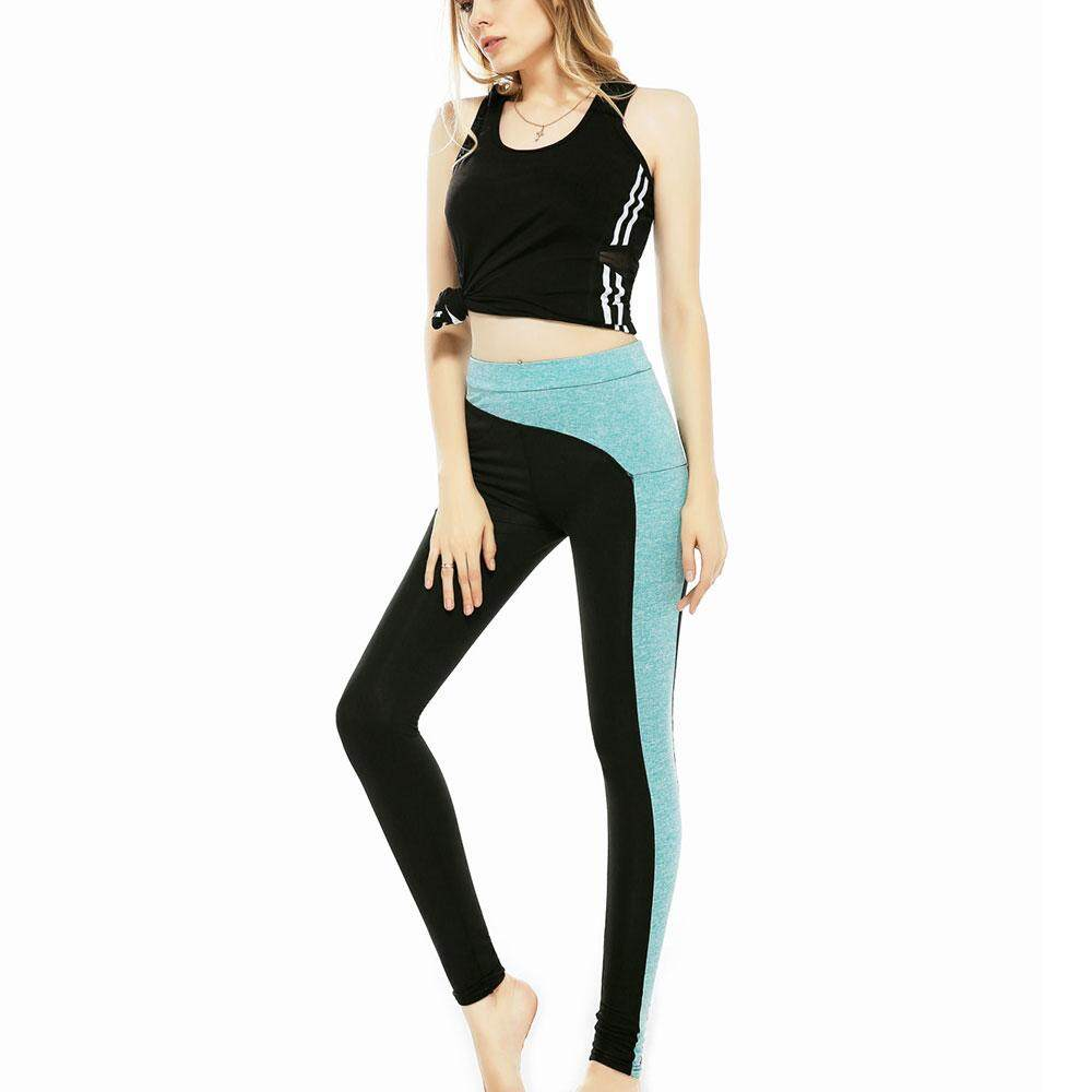 Fitness Trousers Women Yoga Pants Splicing Leggings Pant New Slim Type Cotton Polyester Green Exercise Gym Sports Jogging High Waist Elastic Running By Yohonor.